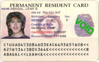 us permanent resident card sample