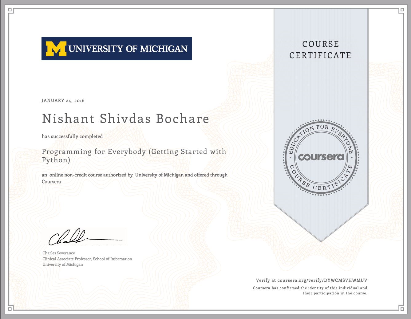 Nishant bochares portfolio programming for everybody getting started with python certificate 1betcityfo Choice Image